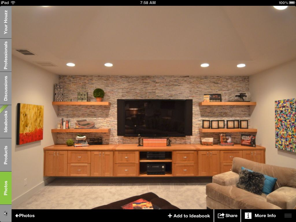 Wall Tile Wall Paper Family Room Basement Tv Rooms
