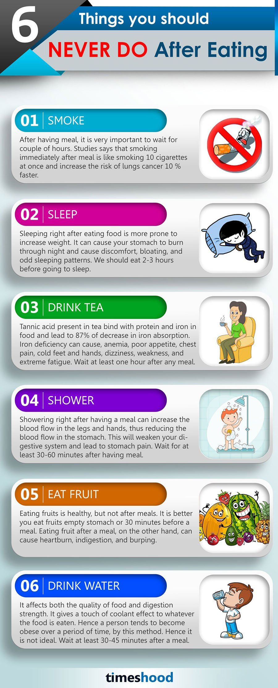 These 6 Things You Should Never Do After Eating Food Infographic Sleep Health Eat Food Health