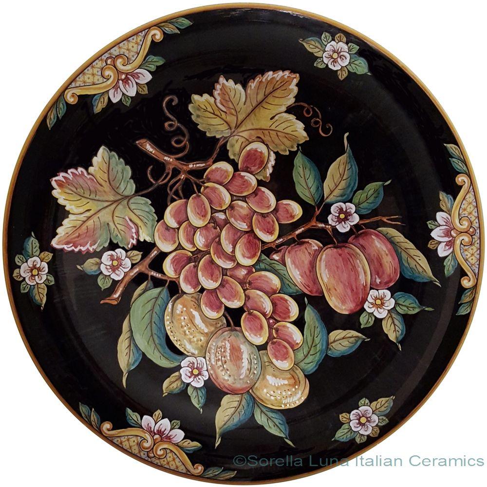 Decorative Italian Wall Plate - Frutta Nero style - 20 inch diameter ...