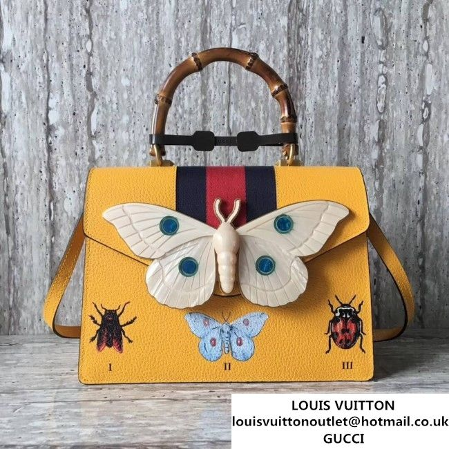 6c4a41d51 Gucci Leather with Moth Medium Top Handle Bag 488691 Yellow 2017  (SLP-70100806 )