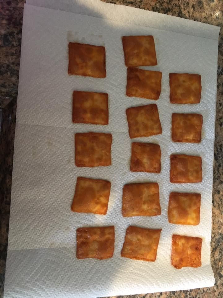 Bake Colby jack cheese in the over at 250 for 35 minutes. I used slices and cut then into fours.