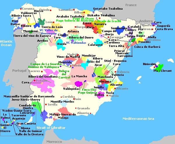 carte espagne vin