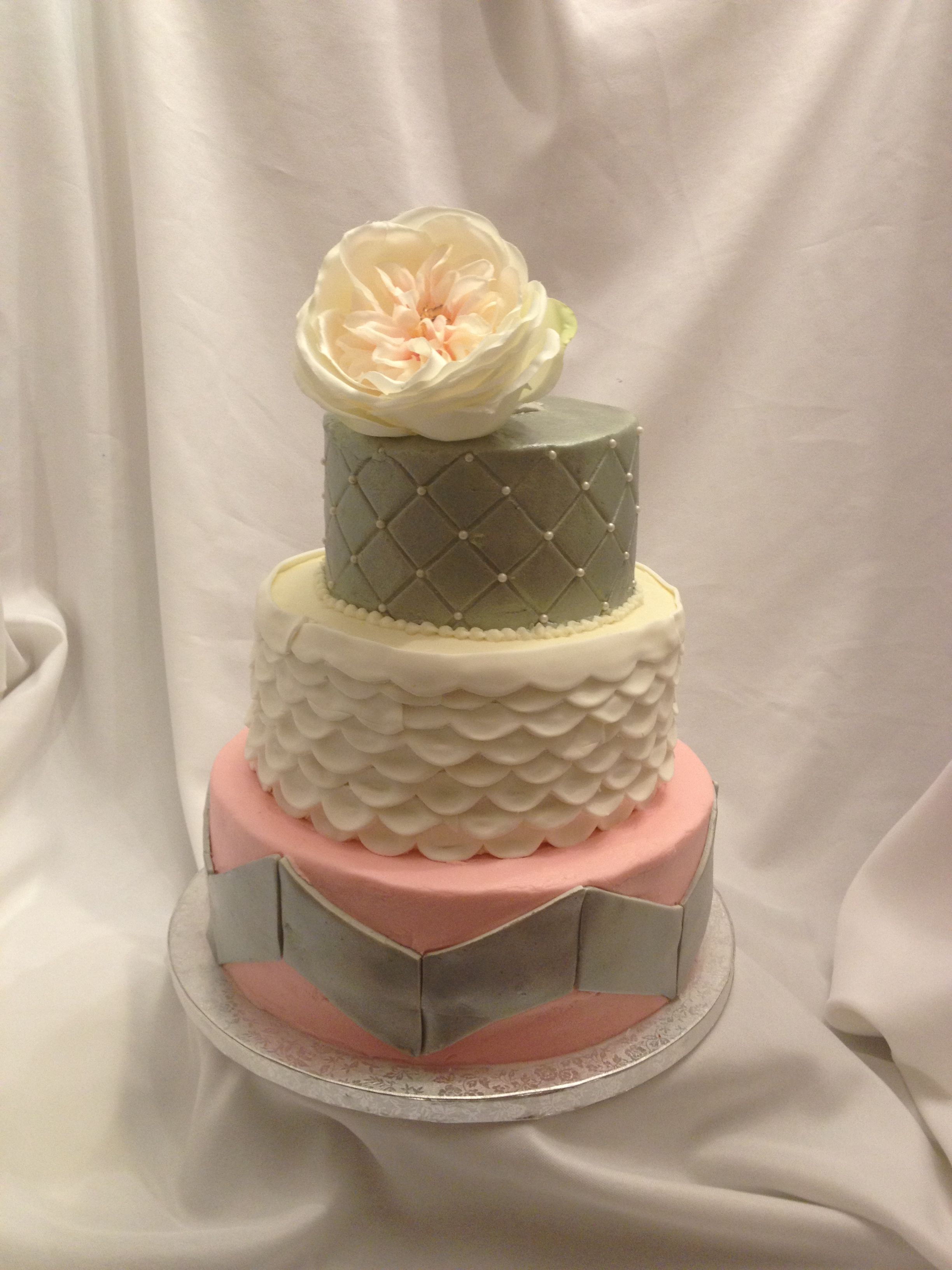 Pink And Silver Cake Elegant Baby Shower Cake Pink And