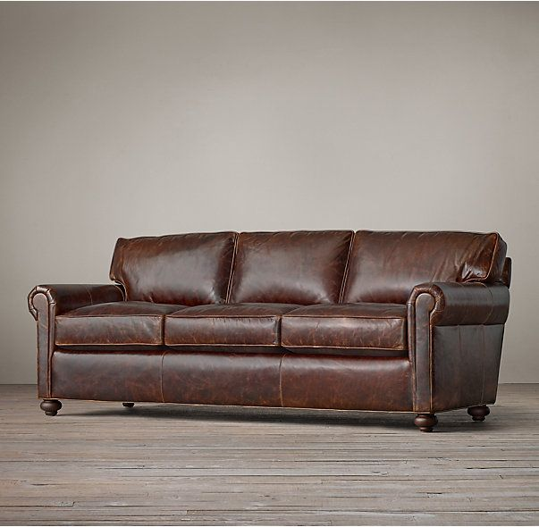 Madrid Taupe Beige Ultra Modern Living Room Furniture 3: Petite Original Lancaster Leather Sofa