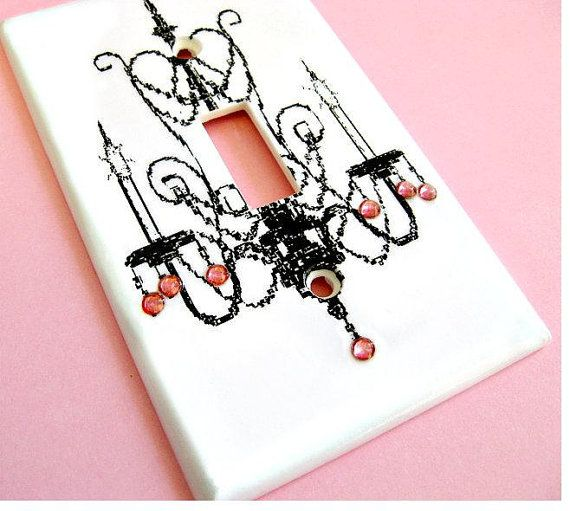 Rose Pink Crystal Chandelier Light Switch Cover Paris