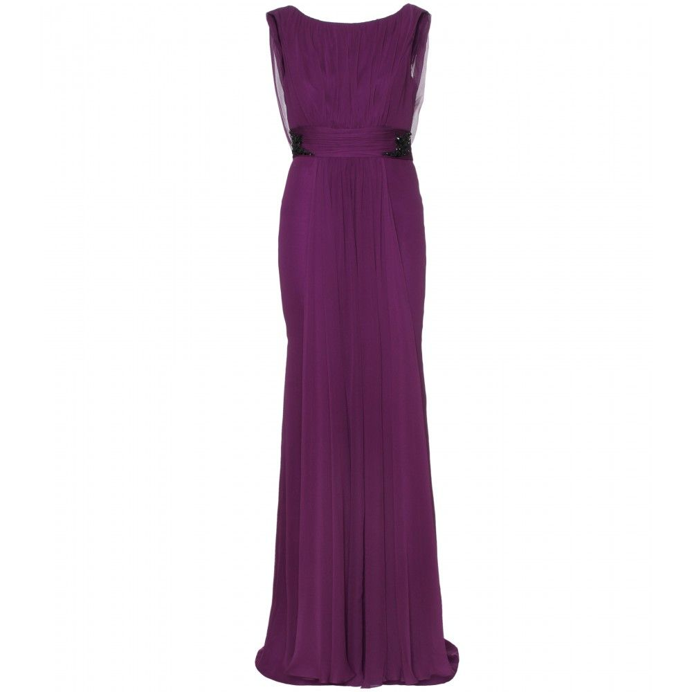 Marchesa Notte Embellished Silk Ruched Evening Gown $1269 | Red ...