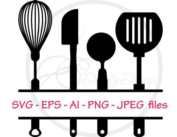 Split Kitchen Utensils Svg Split Monogram Svg Pdf Eps Files