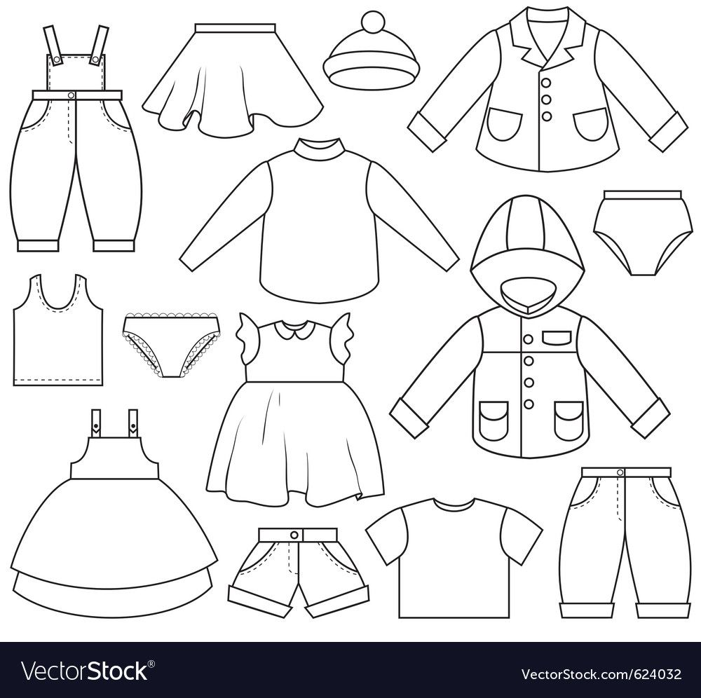 Kids Clothing Download A Free Preview Or High Quality Adobe Illustrator Ai Eps Pdf And High Resolution Jpeg Kids Outfits Clipart Black And White Art Clothes
