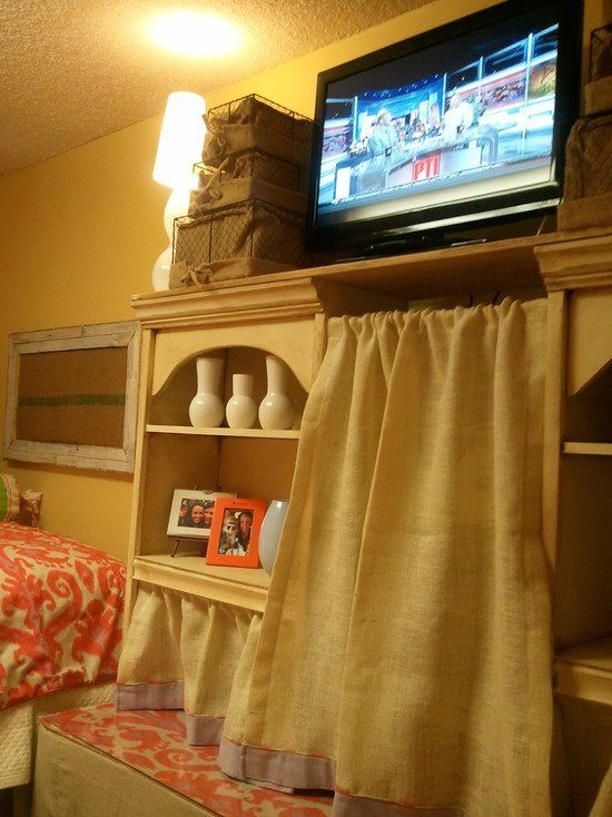 Using Shelves As A Small Closet And Tv Stand Is Great Use Of E In College Dorm Room