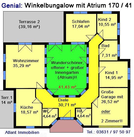 Grundriss bungalow mit atrium  Atrium 7 2 Winkelbungalow Einfamilienhaus Neubau Massivbau Stein ...