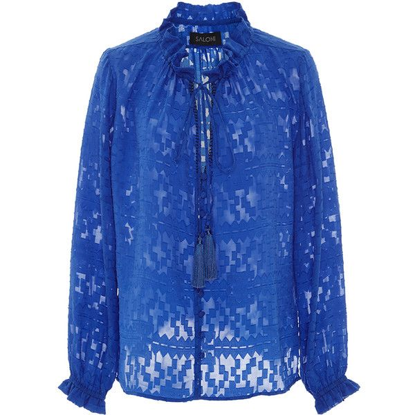 Saloni Ali Triangle Jacquard Top (8 465 UAH) ❤ liked on Polyvore featuring tops, royal blue top, ruched top, shirred top, tie neck top and long neck ties