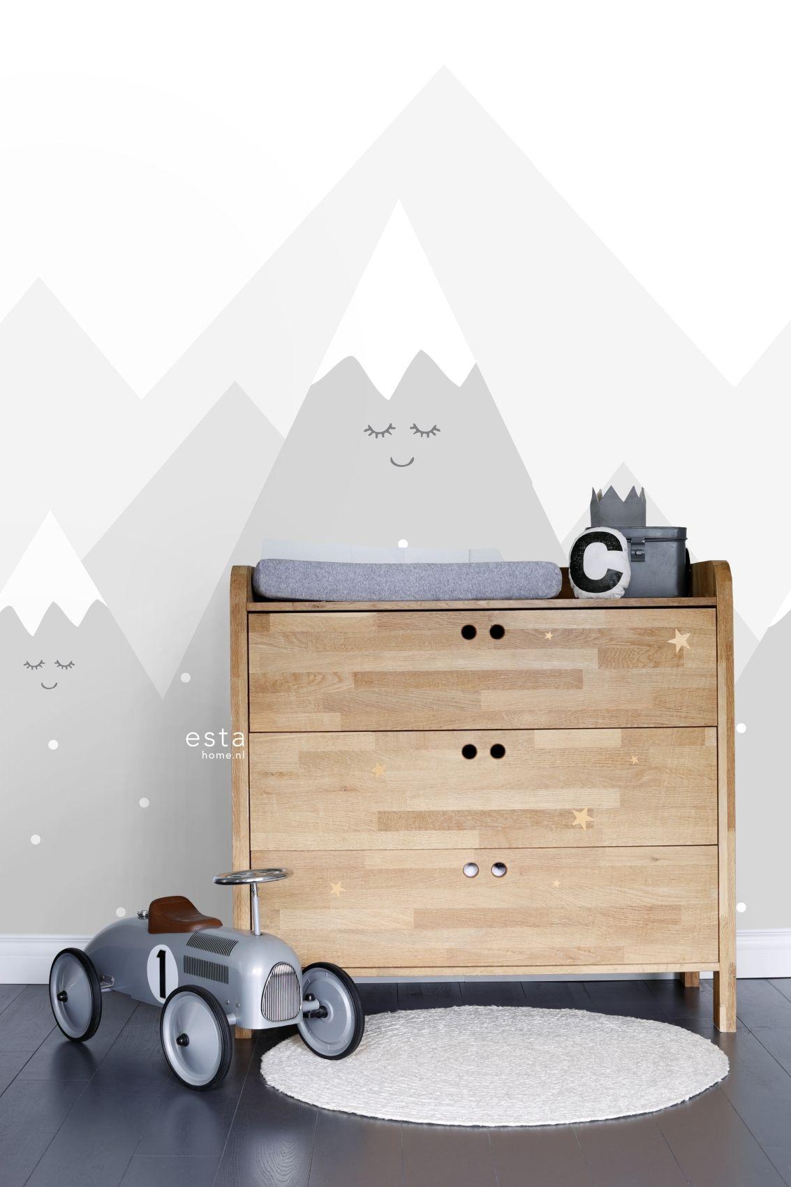 Kinderzimmer Fototapete 'Berge' hellgrau 186x279cm (mit