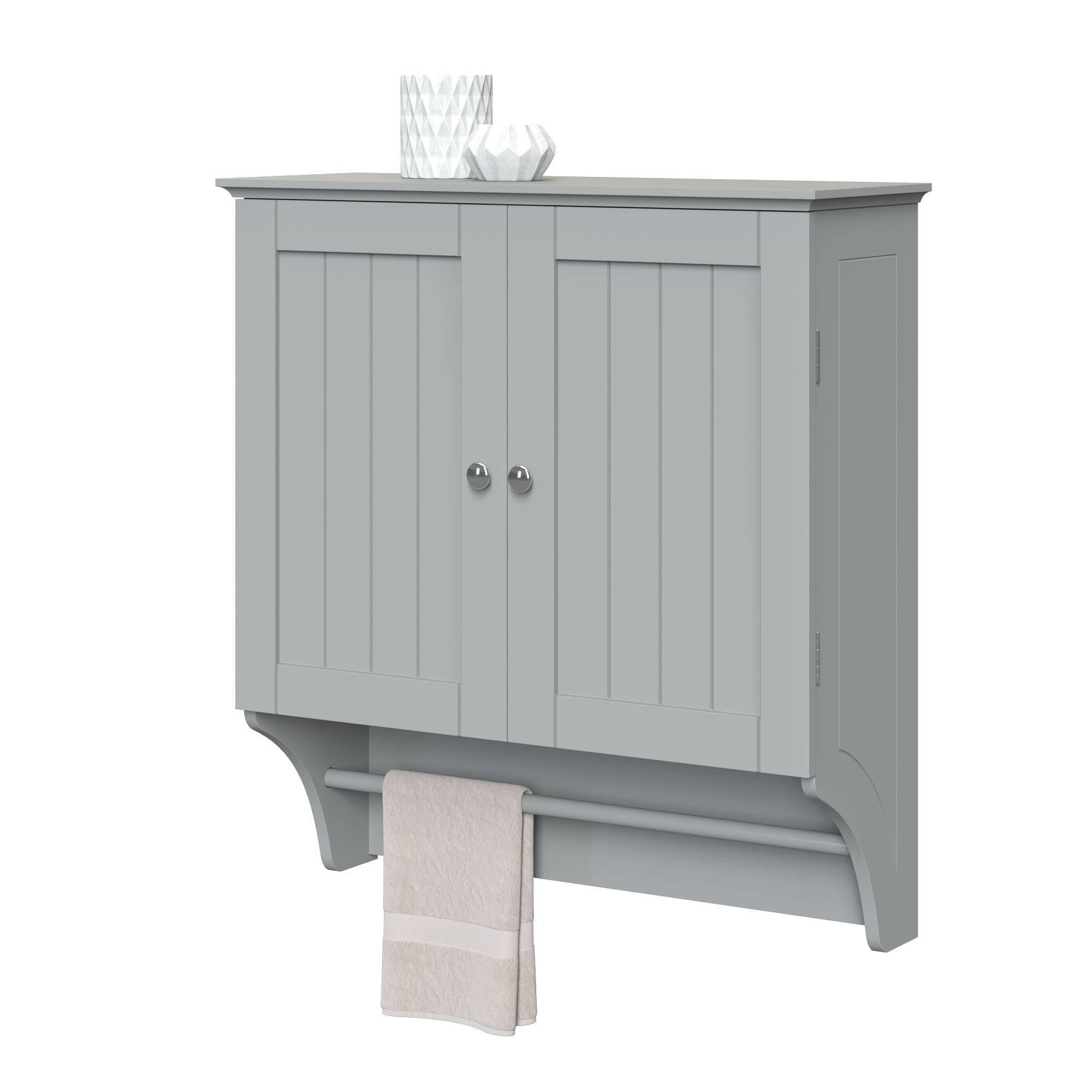 Beadboard Wall Cabinet With Towel Bar