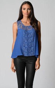 Crochet Detail Top-711092-Cobalt