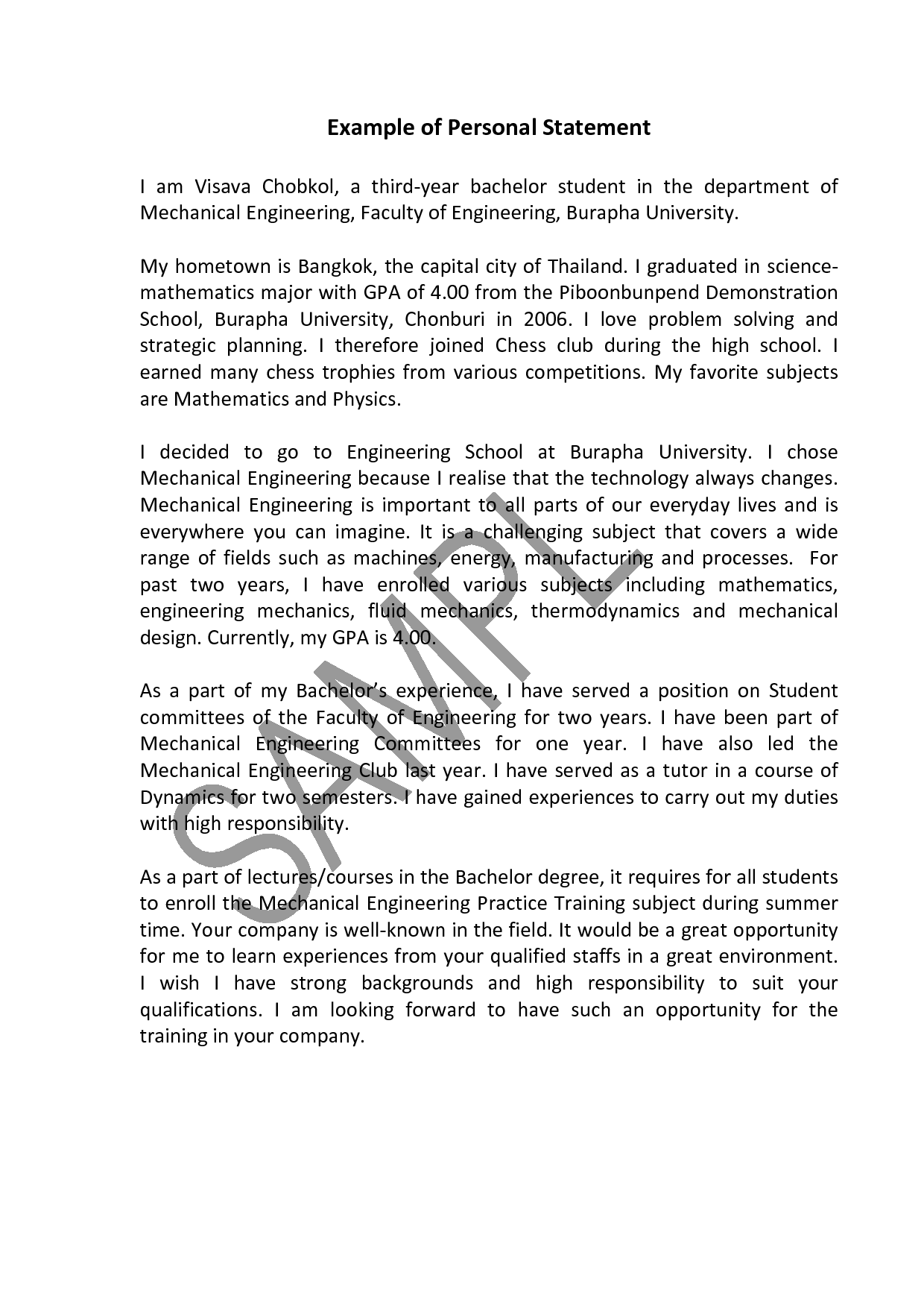 Sample College Essay and Graduate School Personal Statement Editing