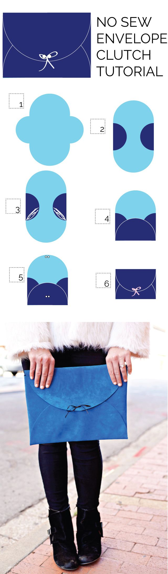 No-Sew Leather Envelope Clutch Tutorial - see kate sew