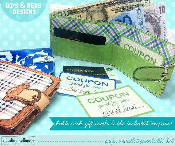 Paper Wallets Gift Card Money Holder With Included Chore