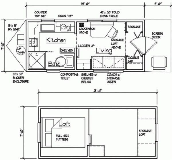 144 Sq Ft Tiny Cabin On Wheels Cabin Floor Plans Tiny Cabin Tiny House Floor Plans