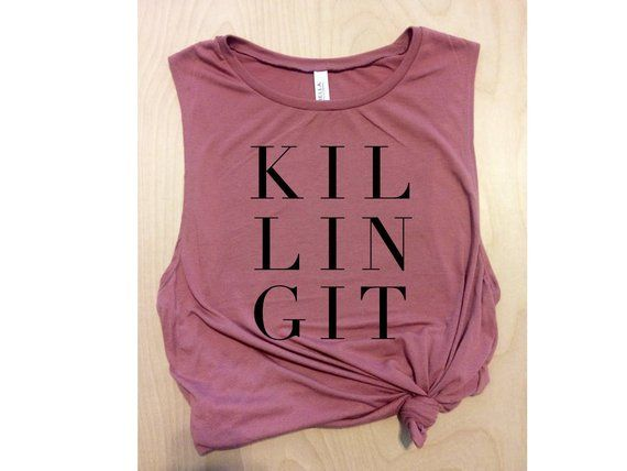 Photo of Killing It pink muscle tank for women, workout tank top, yoga and barre tank top, Crossfit tank
