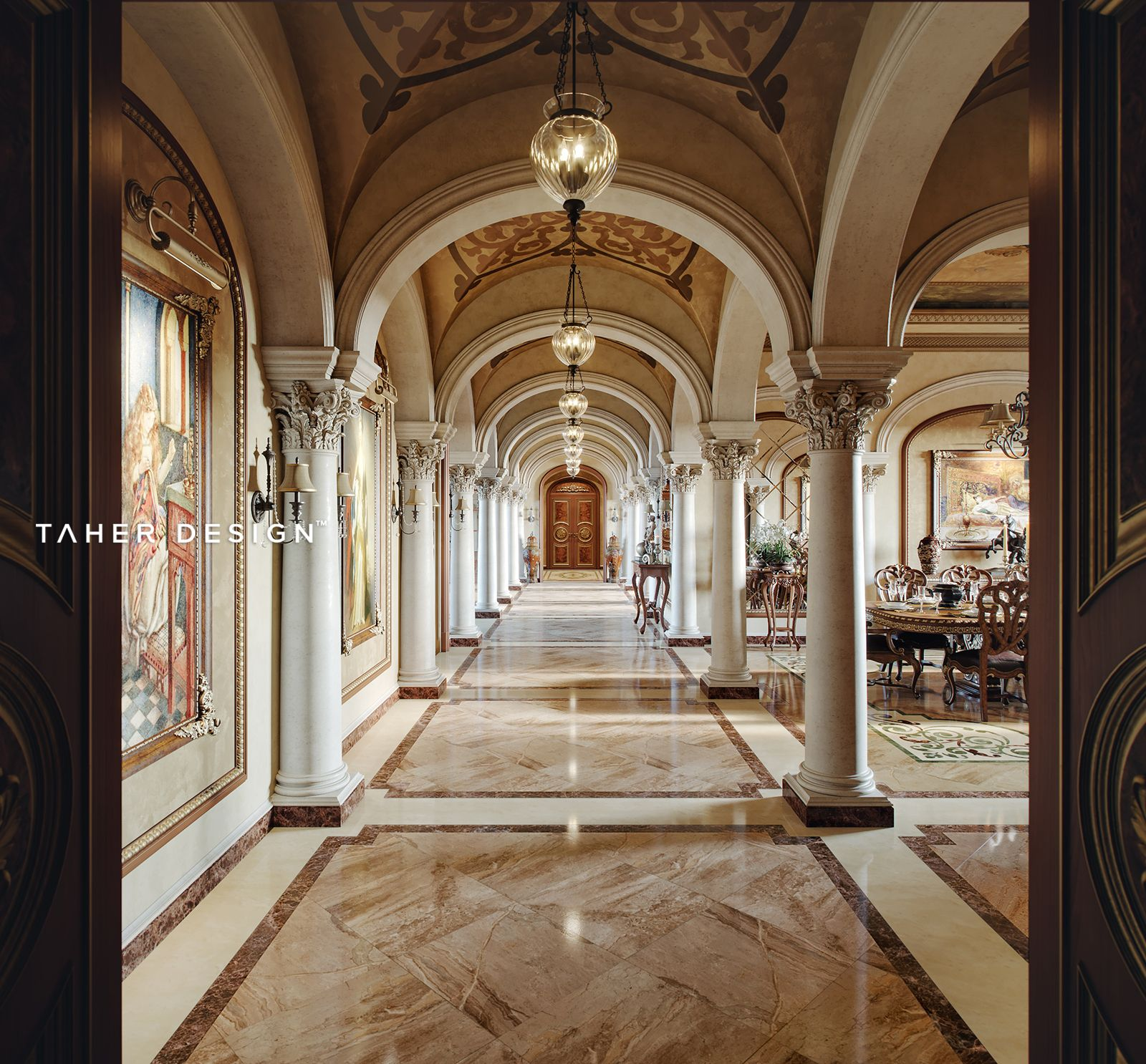 Dreamy Spaces Rendered By Muhammad Taher: Luxury Mansion Located In ( Dubai,UAE ). ©2017 Interior