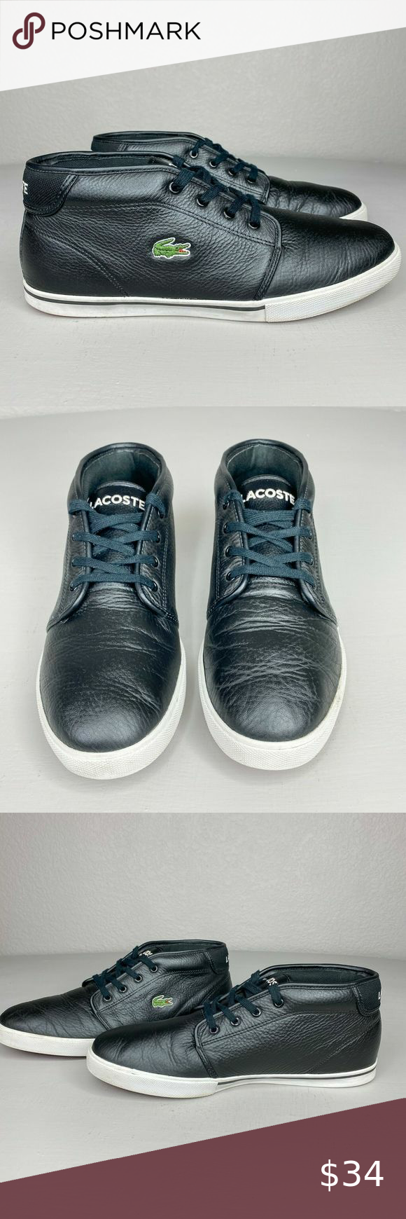 Izod Lacoste 10 Black Leather High Top