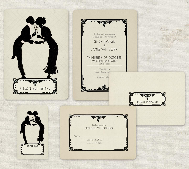 Art Deco Save The Dates, Gatsby Wedding Invitation