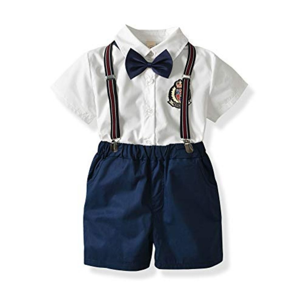 Toddler Gentleman Bow Outfits Kids Boys Clothing Sets Baby T-shirt Shorts Pants