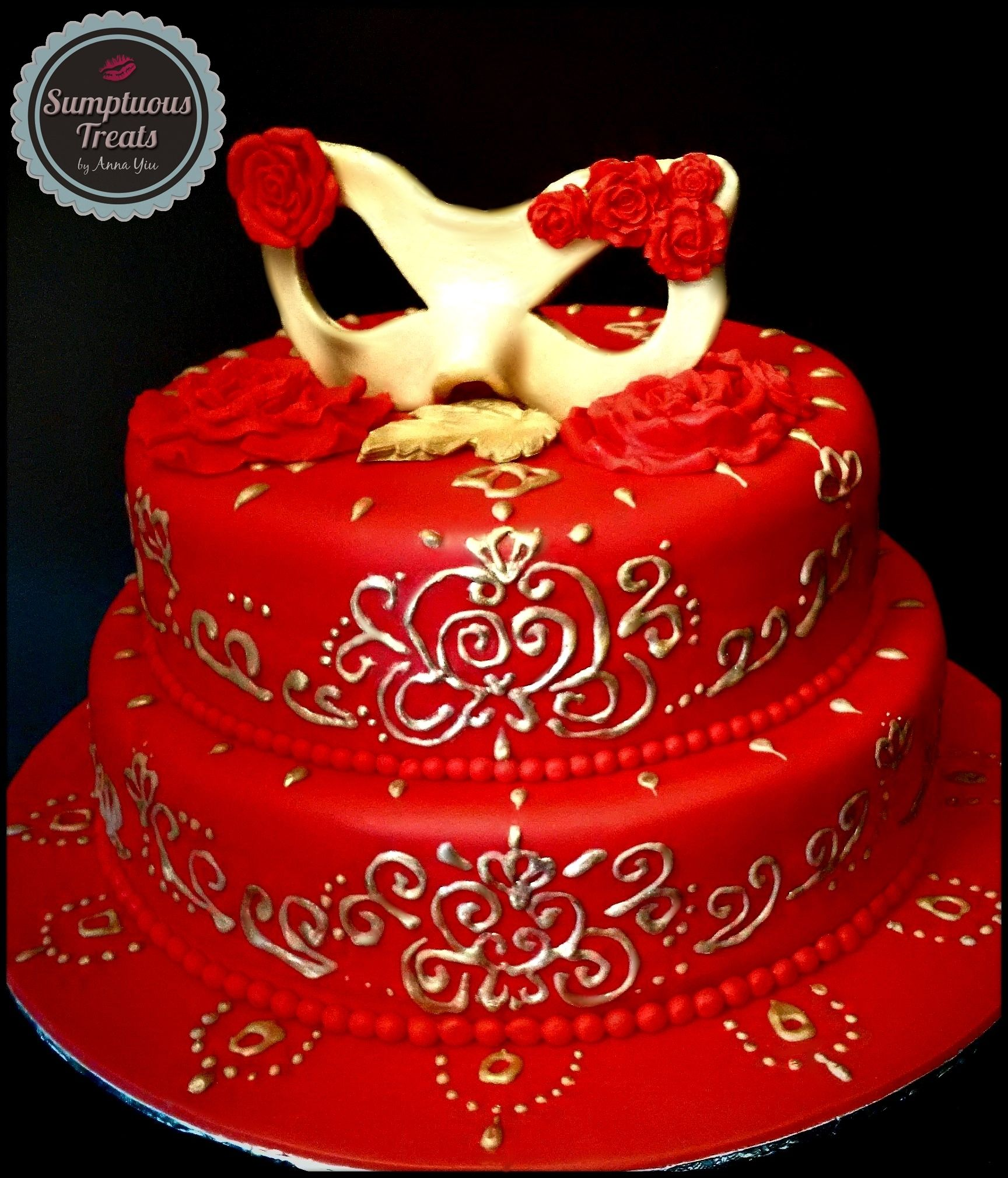Red Gold Masquerade Cake CustomMadeToOrder Cakes Desserts