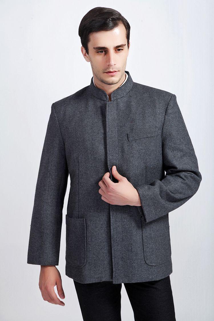 Men's jacket collar - Chinese Style Wool Men S Mandarin Collar Long Sleeve Kung