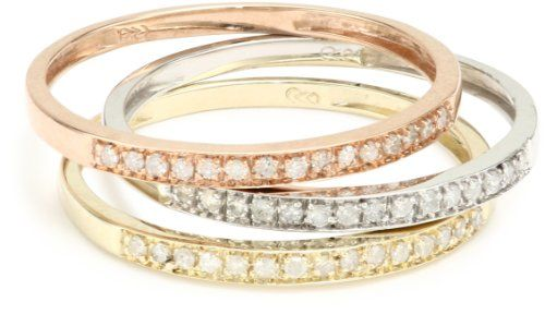 10k TriColored Gold Diamond Stack Ring 14 cttw JK Color I2I3
