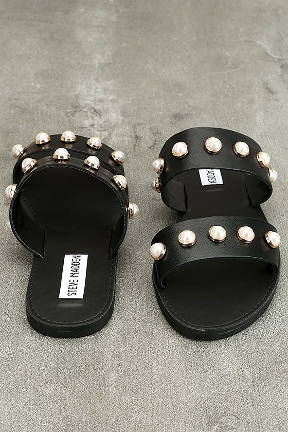 04032e871ac74d Bring a little glam along on your next getaway with the Steve Madden Jole  Black Leather Slide Sandals! Faux pearls in gold settings decorate the wide  straps ...