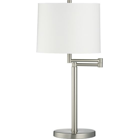 Metro Ii Brushed Nickel Swing Arm Table Lamp In Table Desk Lamps Crate And Barrel Table Lamp Lamp Nickel Table Lamps