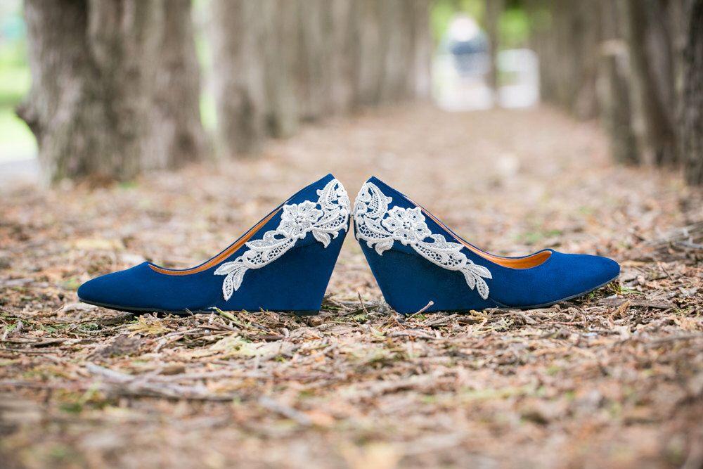 Wedding Heels Blue Wedges Shoes Low