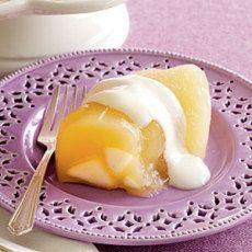 Pear Gelatin with Yogurt Topping Recipe