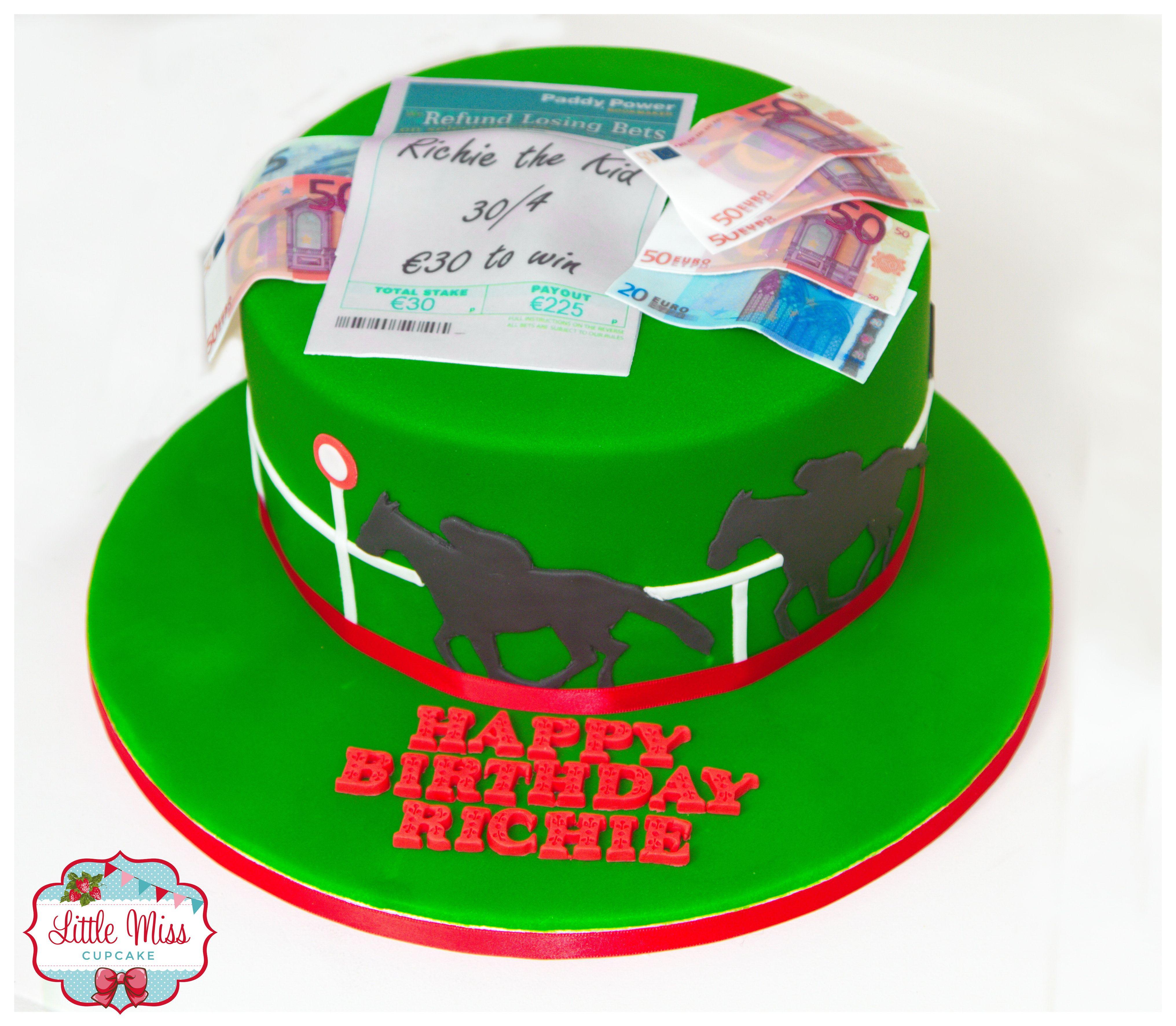 Novelty paddy power themed cake horse racing cake edible money edible bet slip