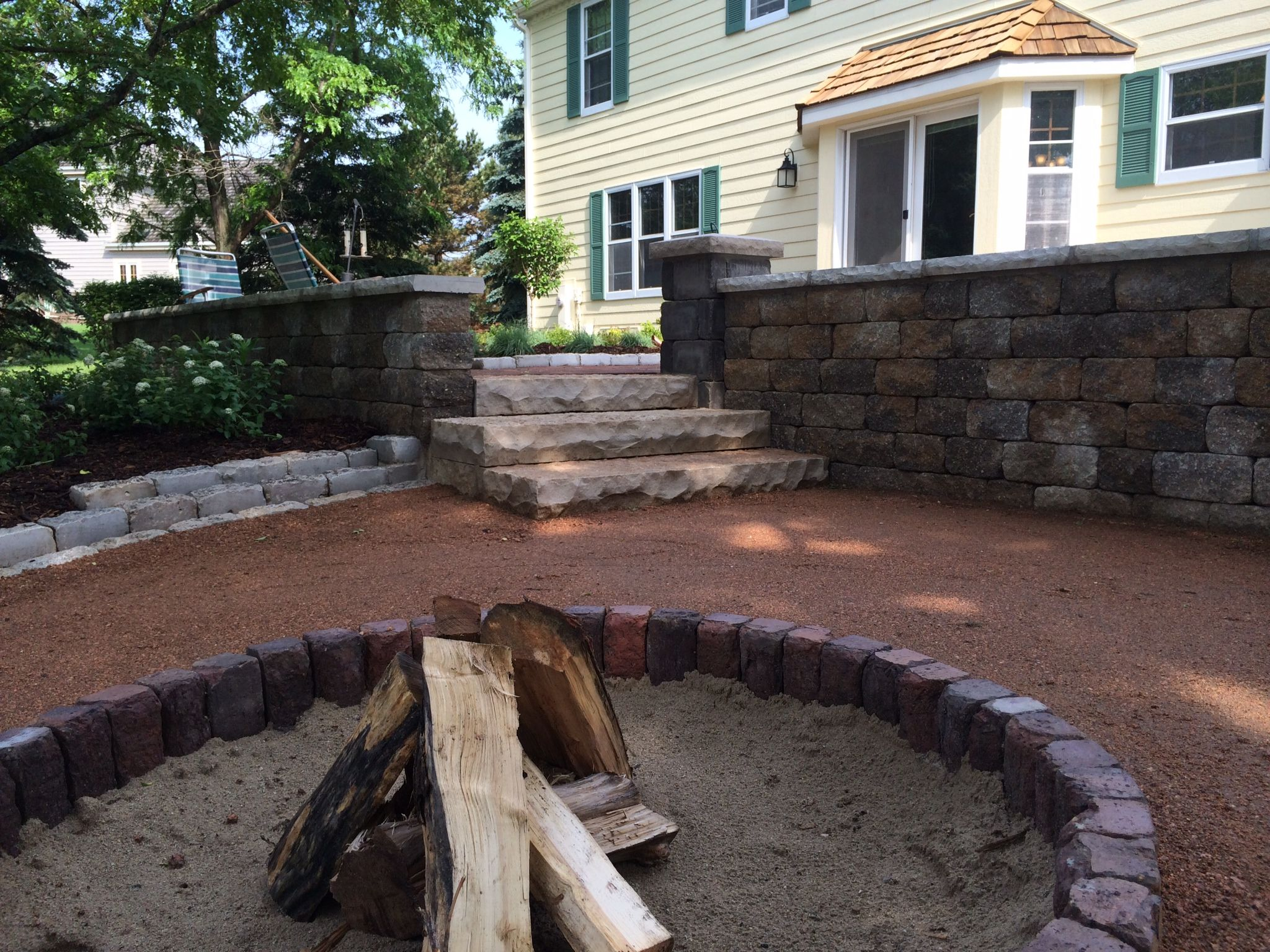 milwaukee metro paver fire ring and spardust gravel patio
