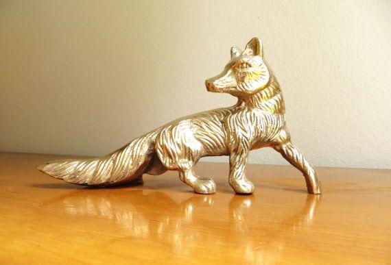 Vintage Brass Fox Figurine #vintage #fox #shelfdecor #homedecor #foxes #gold #brass