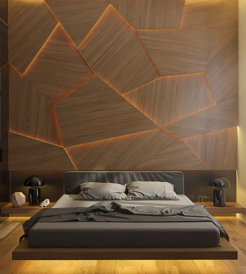 this bedroom has a geometric back lit wood accent wall. Black Bedroom Furniture Sets. Home Design Ideas