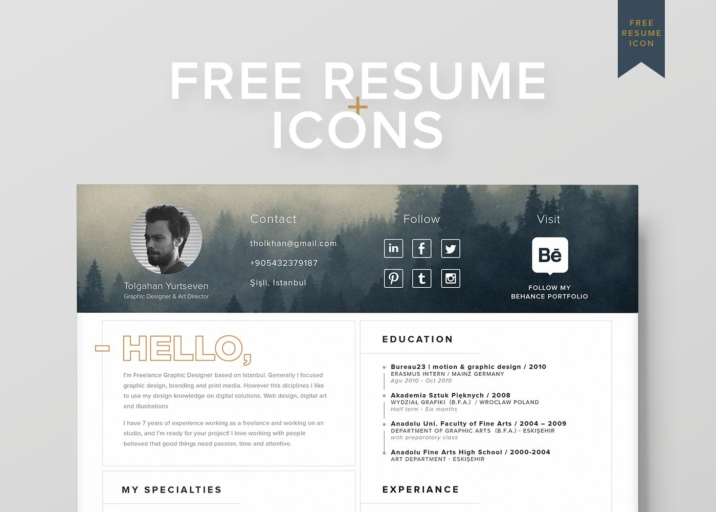 free resume template icons self promotion on behance free