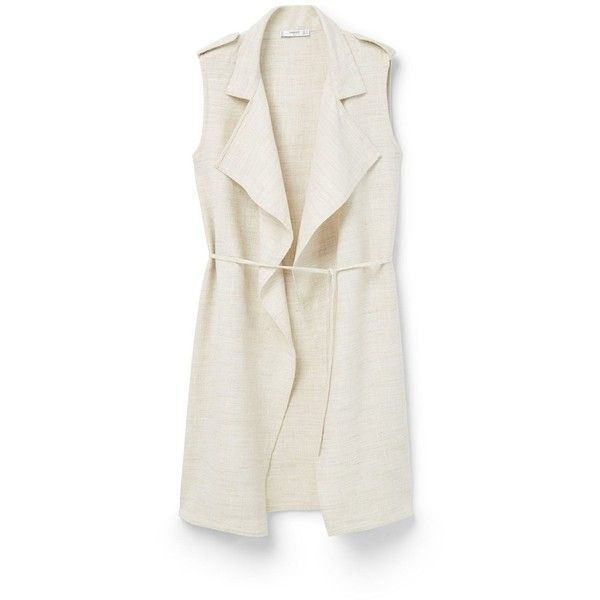 Mango Lapels ramie-blend gilet ($58) ❤ liked on Polyvore featuring outerwear, vests, beige, women, gilet vest, lapel vest, sleeveless waistcoat, sleeveless vest and linen vest