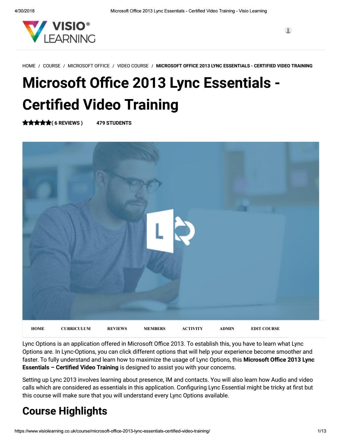 Microsoft Office 2013 Lync Essentials Certified Video Training Visio