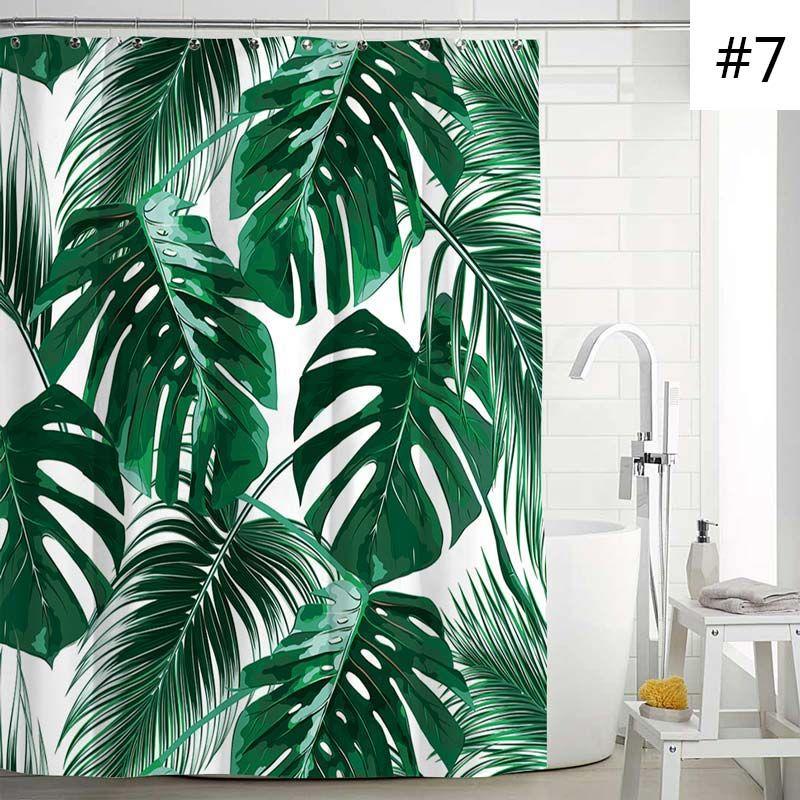 Waterproof Mouldproof Shower Curtain Modern Banana Leaves Printed