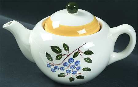 Teapot & Lid in the Blueberry pattern by Stangl