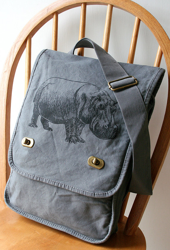 Hippopotamus Canvas Field Bag Messenger Bag by catbirdcreatures, $28.00, I don't like messenger bags but I'd take it on a backpack