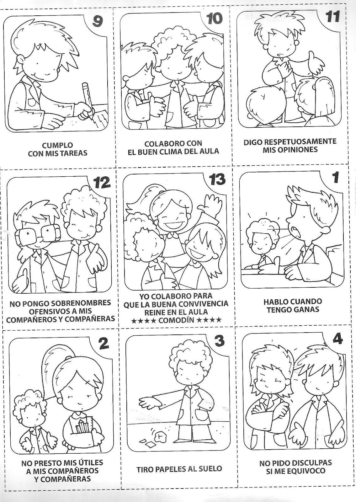 Normas de convivencia para colorear para niños - Imagui | Materiales ...