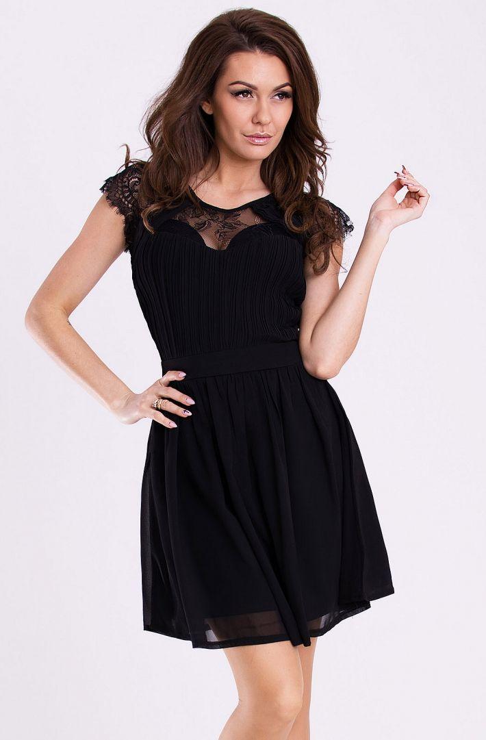 c4648933 Zwiewna sukienka na wesele z szyfonu czarna Zwiewna sukienka bez ...