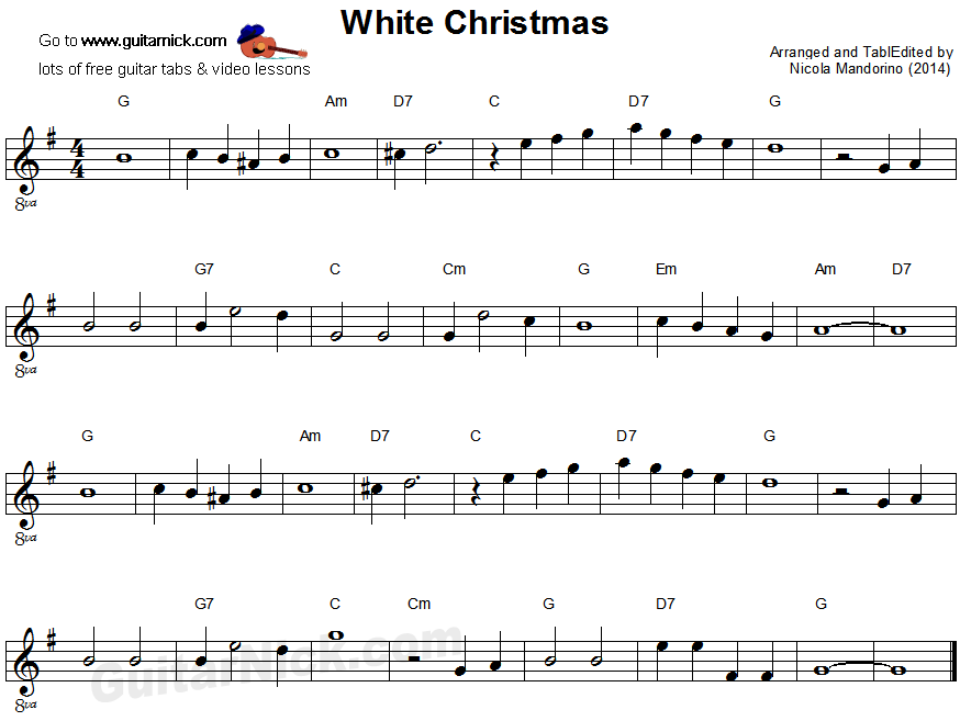 White Cristmas - easy guitar sheet music | Orchestra/Guitar ...
