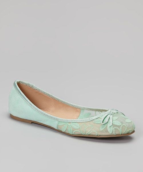 Take a look at the Mixx Shuz Mint Embroidered Toni Ballet Flat on #zulily today!