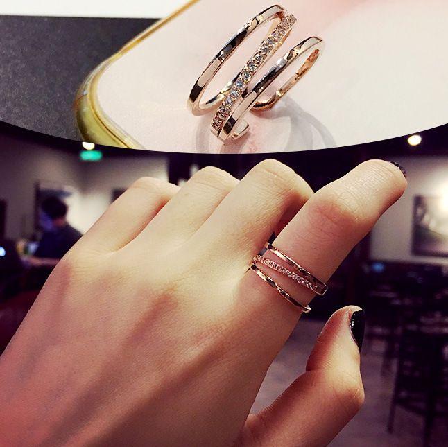 Korean Zircon Micro Inlay Ring Personality Fashion Irregular Multi