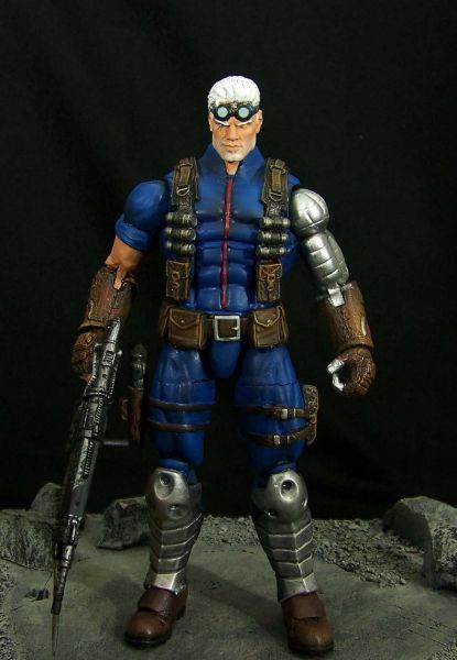 Cable (Marvel Legends) Custom Action Figure by Stevid Hyperion bod, Mr Sinister arm, GOW guy head and gloves, lower boots are from DCD Arkham Hush, SF Guile boots.
